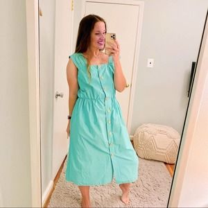 Vintage Button Front Green Maxi Dress France 👗 10
